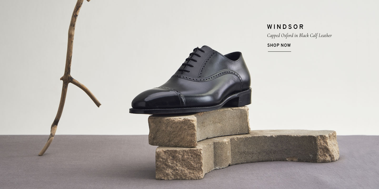 Windsor Capped Oxford in Black Calf Leather | Shop Now