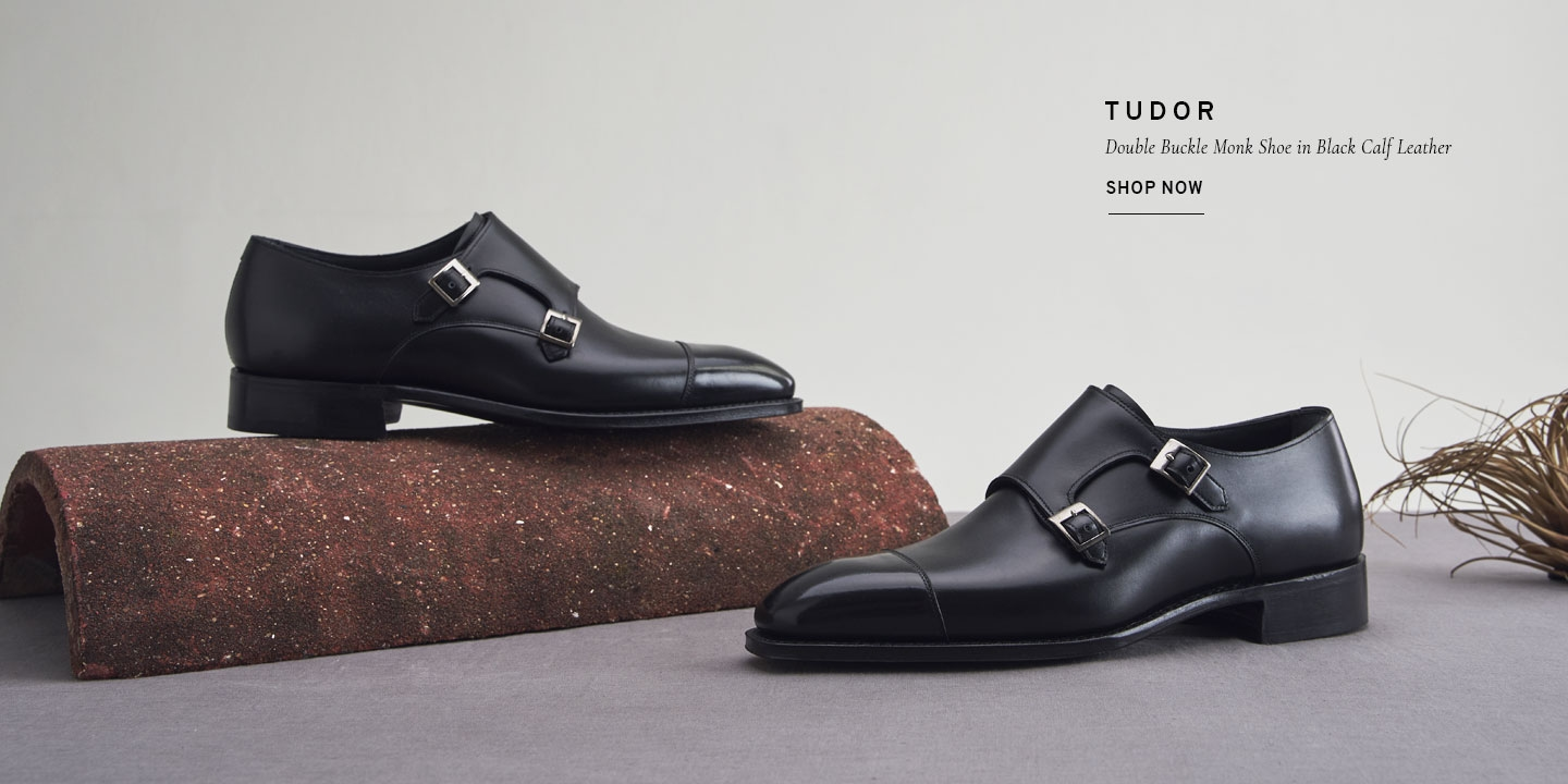 Tudor Double Buckle Monk Shoe in Black Calf Leather | Shop Now