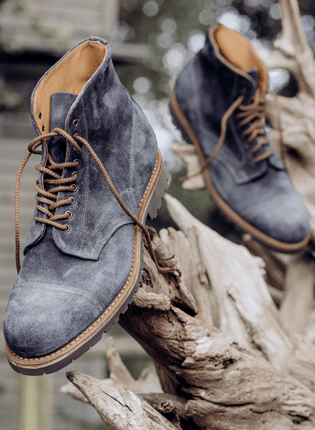 Jarrow Derby Boot in Blue Waxy Suede | Shop Now