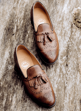Brooke Fringed Tassel Loafer in Conker Calf Leather | Shop Now