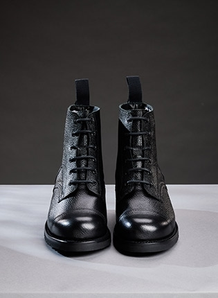 Hurricane GL Military Ankle Boots in Black Grain