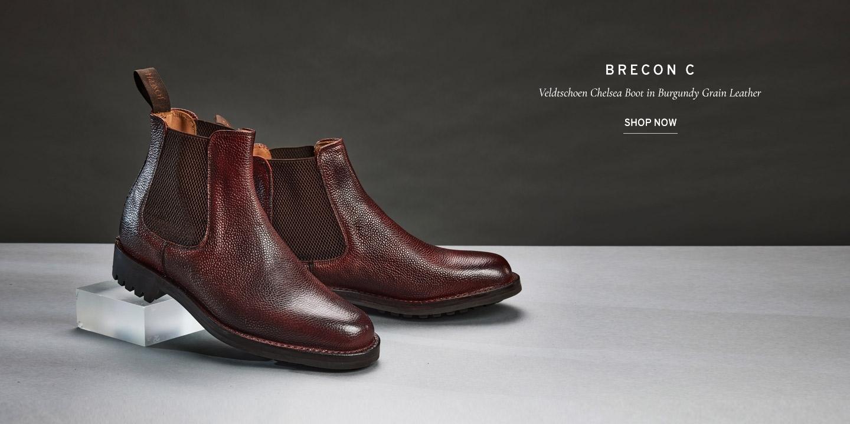 Brecon C Veldtschoen Chelsea Boot in Burgundy Grain Leather   Shop Now