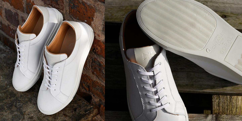 Kelham Unisex Trainer in White/Off White Leather