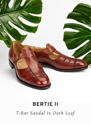 Bertie II T-Bar Sandal in Dark Leaf | Shop Now