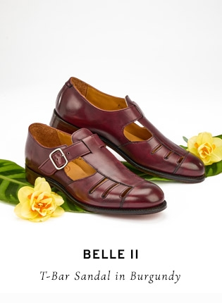 Belle II T-Bar Sandal in Burgundy | Shop Now