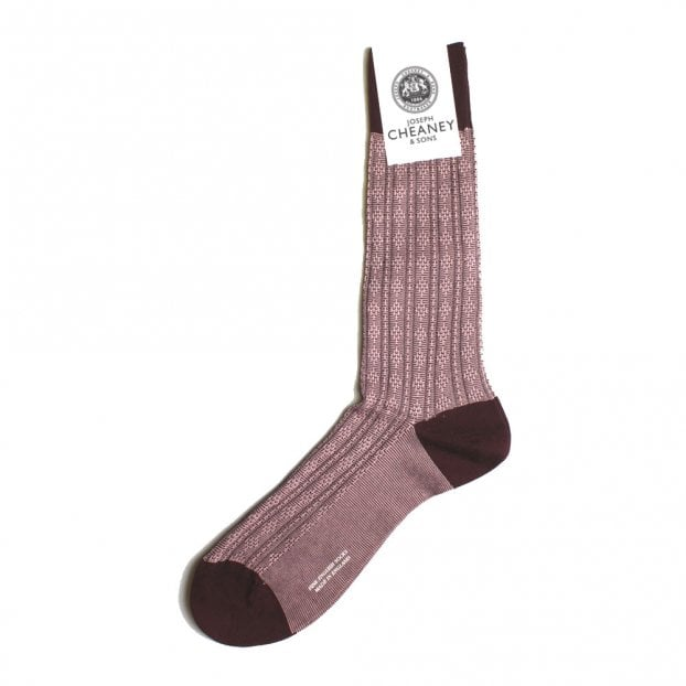 Pantherella Adderley Burgundy Atom Stitch Panel Socks