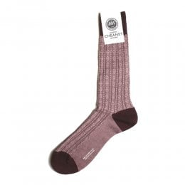 Adderley Burgundy Atom Stitch Panel Socks