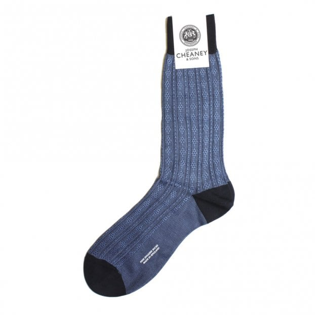Pantherella Adderley Navy Atom Stitch Panel Socks
