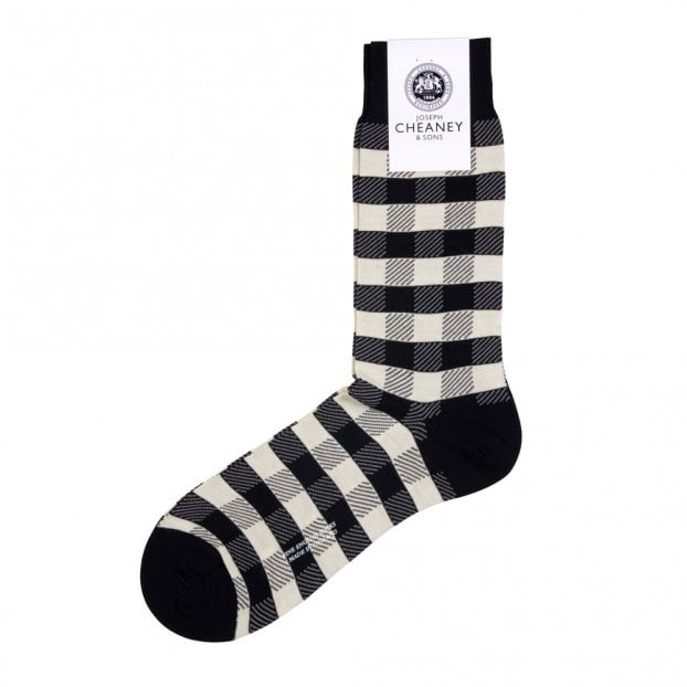 Pantherella Cooper Black/Cream Merino Wool Gingham Check Mens Socks