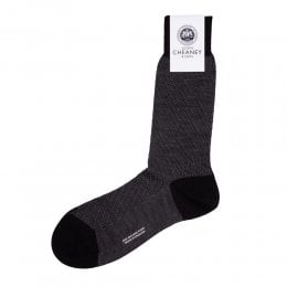 Dagnall Black Merino Wool Diagonal Textured Mens Socks