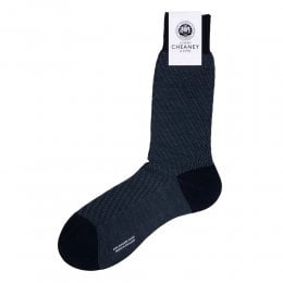 Dagnall Navy Merino Wool Diagonal Textured Mens Socks