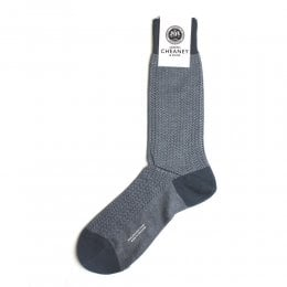Fabian Steel Blue Herringbone Socks