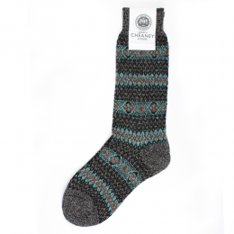 Pantherella Felbrigg Charcoal Fairisle Stripe Mens Socks