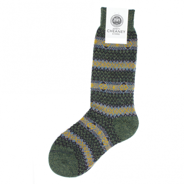 Cheaney Shoes | Felbrigg Men's Green Winter Socks by Pantherella