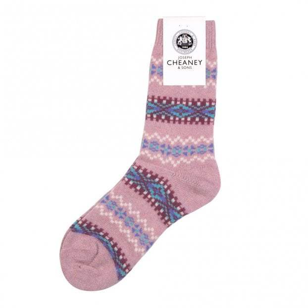 Pantherella Francesca Misty Pink Cashmere Fairisle Band Womens Socks