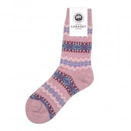 Francesca Misty Pink Cashmere Fairisle Band Womens Socks