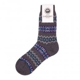 Francesca Heather Marl Cashmere Fairisle Band Womens Socks