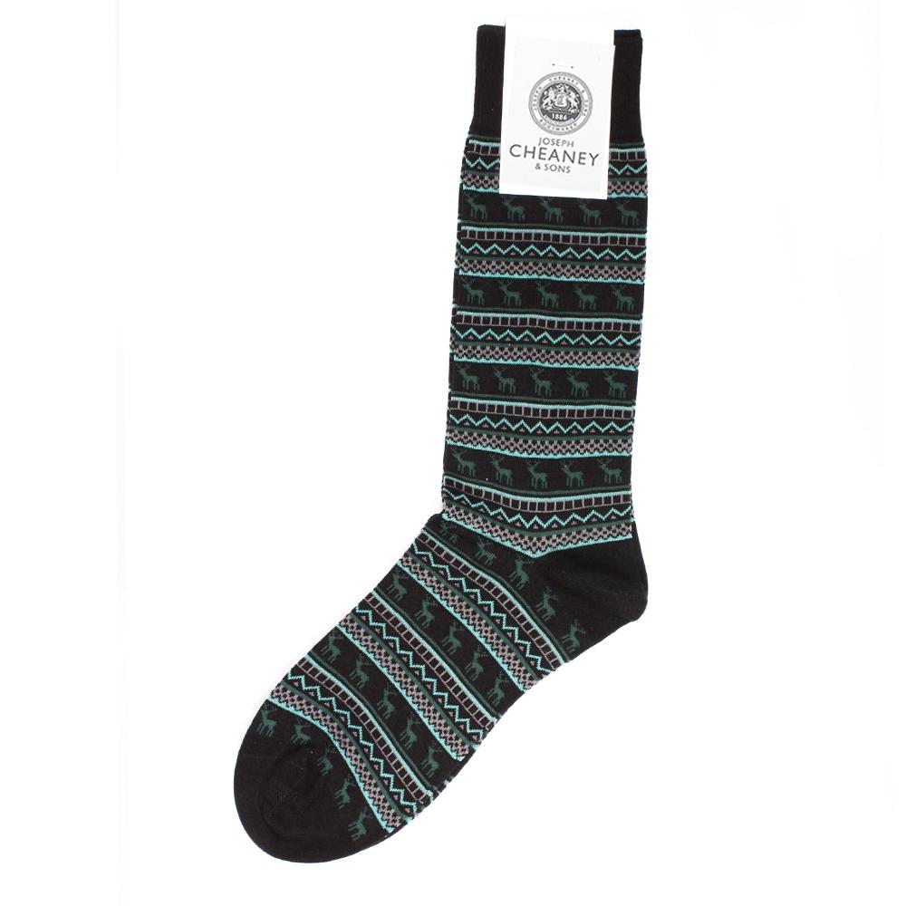 f947ef49f Pantherella Fraser Black Turquoise Stag Mens Cotton Socks