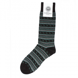 Pantherella Fraser Black/Turquoise Stag Mens Cotton Socks
