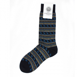 Pantherella Fraser Navy Stag Mens Cotton Socks