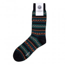 Frutiger Charcoal Multi Fairisle Bands Merino Wool Mens Socks