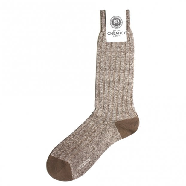 Pantherella Hamada Cocoa Mens 8x3 Rib Cotton/Linen Blend Mens Socks