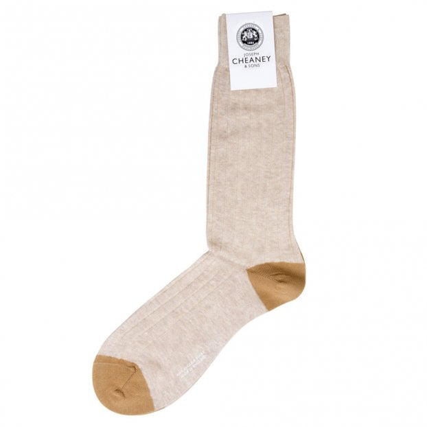 Pantherella Hamada Linen Beige Mens Ribbed Socks With Contrast Heel And Toe