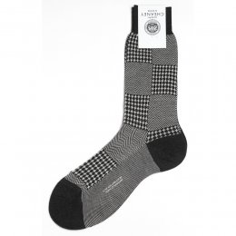 Hamilton Charcoal Herringbone and Houndstooth Mens Socks