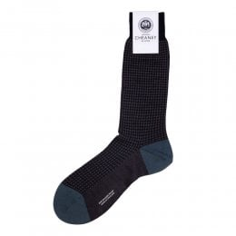 Hatherley Navy Merino Wool Houndstooth Mens Socks