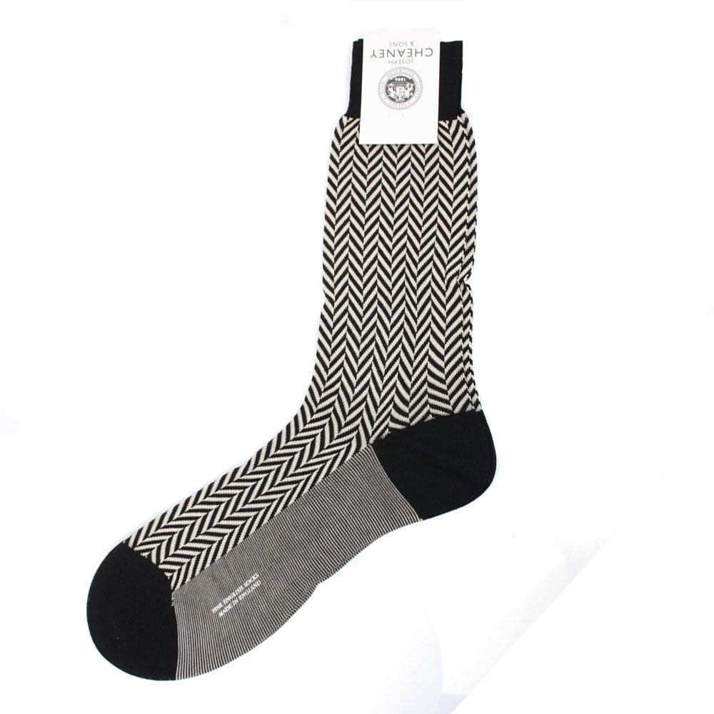 adb62864c Hertford Black Chunky Herringbone Cotton Lisle Men  039 s Socks
