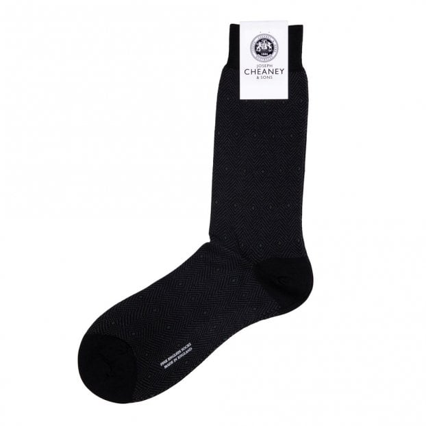 Pantherella Hobart Black Merino Wool Diamond Jacquard Mens Socks
