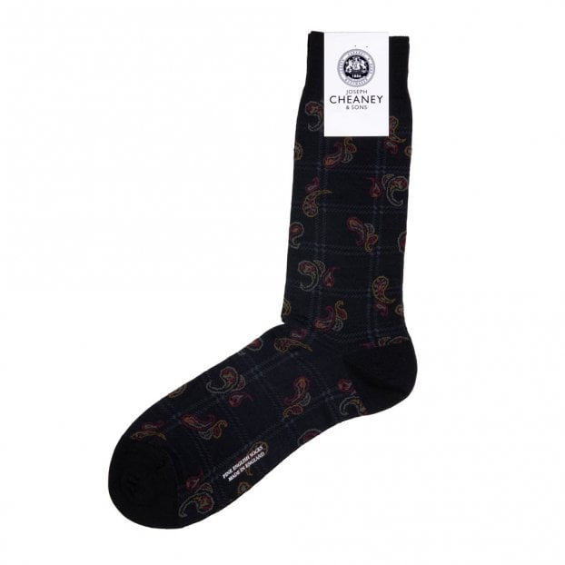 Pantherella Johnson Black Merino Wool Paisley Spiral Check Mens Socks