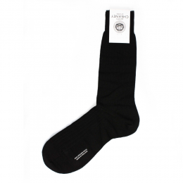 Laburnum Black Merino Wool 5x3 Rib Mens Socks