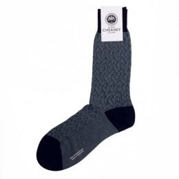 Lovat Navy Textured Lattice Mens Socks