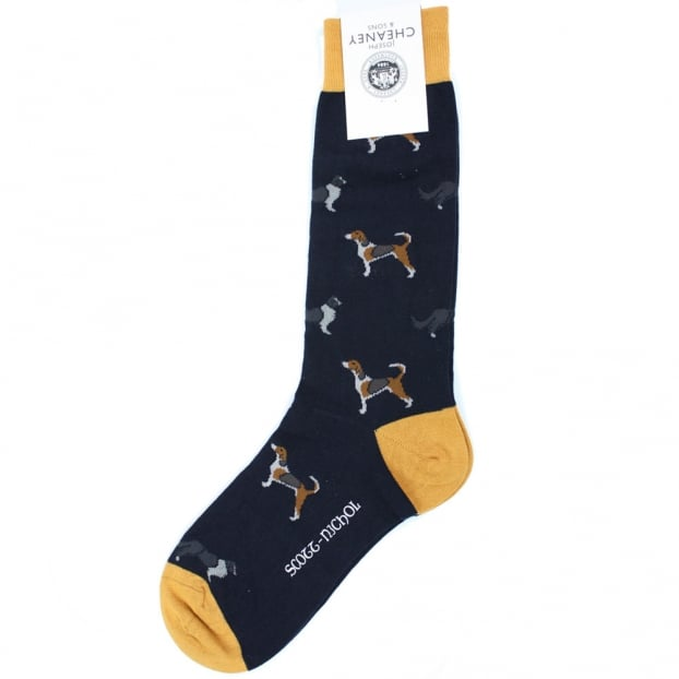 Pantherella Lowesby Navy All Over Dogs Men's Cotton Socks