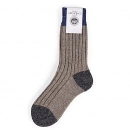 Mosley Oatmeal Ribbed Wool Ladies Socks
