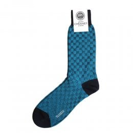 Patino Navy Mens Patchwork Shadow Cotton Lisle Socks