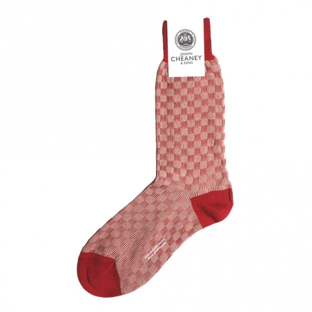 Pantherella Patino Recurrant Mens Patchwork Shadow Cotton Lisle Socks