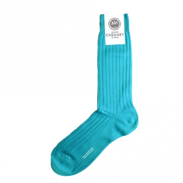 Pantherella Pembrey Aqua Mens 9x1 Rib Sea Island Cotton Socks