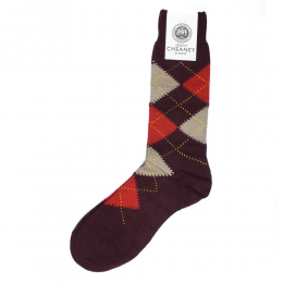 Pantherella Racton Burgundy Argyle Mens Socks
