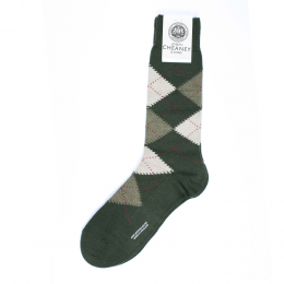 Pantherella Racton Green Argyle Mens Socks