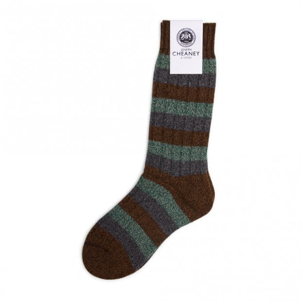Pantherella Riddlesden Conker 6x2 Rib 3 Colour Stripe Wool Men's Sock