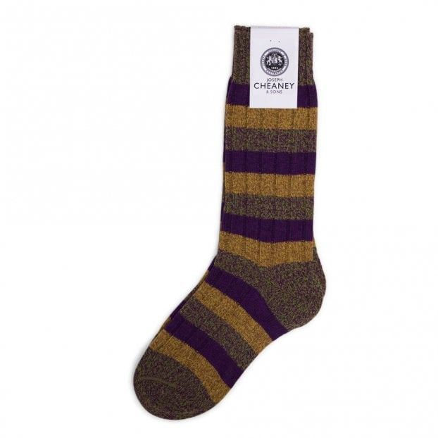 Pantherella Riddlesden Goosebury 6x2 Rib 3 Colour Stripe Wool Men's Sock