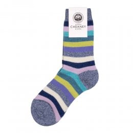 Samara Denim Cashmere Striped Womens Socks