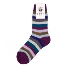 Samara Magenta Cashmere Striped Womens Socks