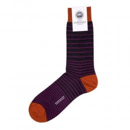 Scher Charcoal Merino Wool Graded Stripe Mens Socks