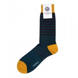 Scher Chocolate Merino Wool Graded Stripe Mens Socks