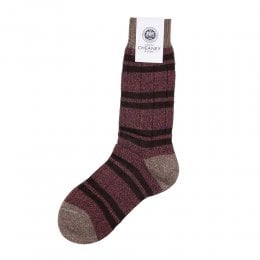 Sudbury Ginger Wool 10x2 Rib Stripe Mens Socks