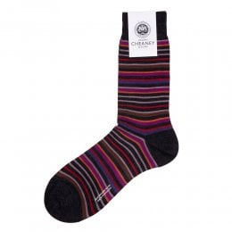 Sutnar Charcoal Merino Wool Multi Stripe Mens Socks
