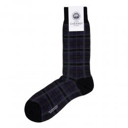 Tarlton Black/Purple Merino Wool Tartan Check Mens Socks